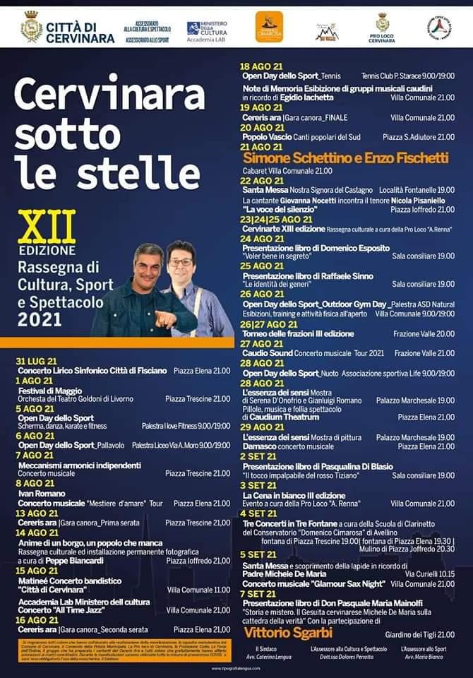 """Eventi estate a  Cervinara 2021 con """"Cervinara sotto le stelle"""" ed """"Opulentia""""."""